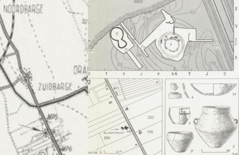 Locatie en vondsten. Bron: NDVA, 1948.